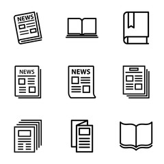 Set of 9 publication outline icons