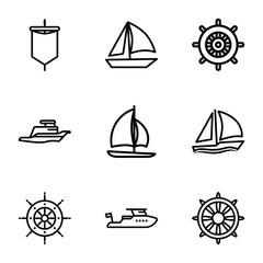Set of 9 yacht outline icons