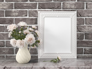 Mock up blank frame. 3d rendering