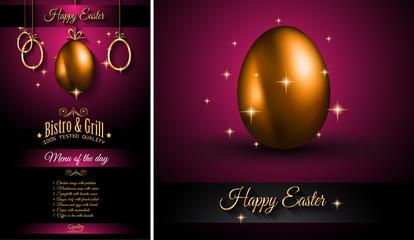 Restaurant Menu template for 2017 Easter celebration with a Golden egg