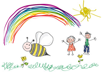 Vector drawing made by a child, bee and rainbow in the spring