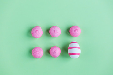 photo of tasty pink marshmallows and Easter egg on the wonderful green studio background