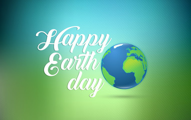Happy Earth Day hand lettering card with planet earth, on green blue background. Vector illustration with smooth lines for banner, poster.