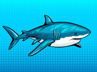Shark comic book style vector illustration