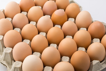 Background of chicken eggs in a cardboard tray.