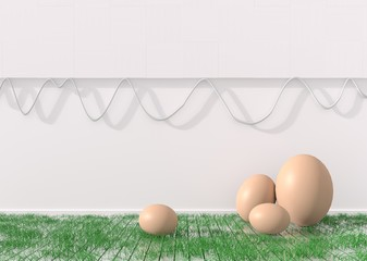 Happy easter background with  eggs on green grass and white wood wall . Happy Easter greetings. 3D render.