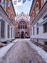 Brasov synagogue in winter, picture taken on December 17, 2016
