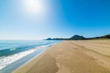 Shining sun over Feraxi beach
