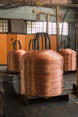 Copper wire on spindles in production of making cables