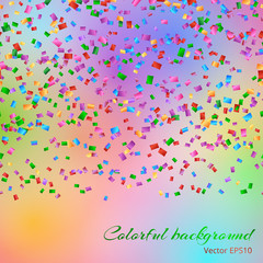 Glitter sparkle background with falling confetti