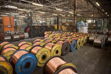 Copper wire rolls in storage
