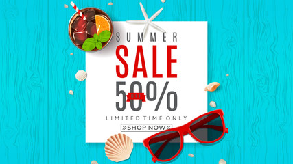 Beautiful web banner for summer sale. Top view on composition with red sun glasses, seashells, and ice cream on wooden texture. Vector illustration.