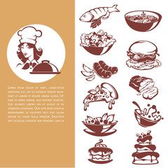 common food, beautiful chef and meal collection , fish, meat, soup, salad, dessert, for your menu