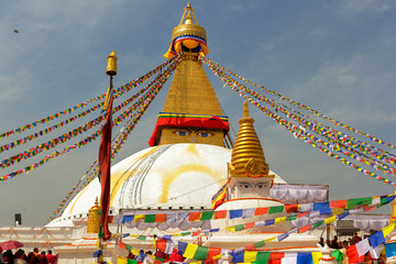 Recess Fitting Nepal Boudhanath temple ( stupa ) after renovation, the temple was damaged by earthquake in 2015 in Kathmandu,Nepal