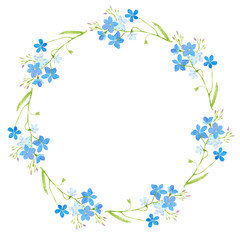 Round frame with forget-me-nots flowers.Green and blue floral wreath.Watercolor hand drawn illustration.
