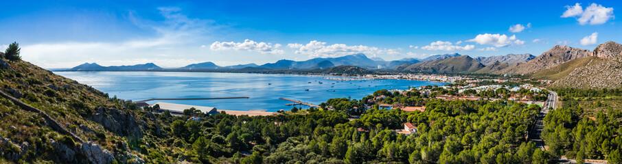 View of the coastline on Majorca Spain, beautiful bay of Port de Pollenca Mediterranean Sea