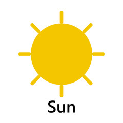 Sun symbol straight join entire yellow text