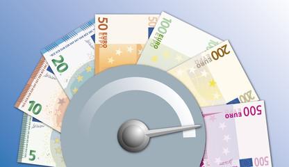 pouvoir d'achat - compteur - réussite - succès - augmentation - billets - euros