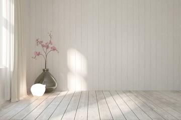 White empty modern room with flower. Scandinavian interior design. 3D illustration