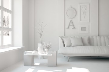 White room with sofa and grey landscape in window. Scandinavian interior design. 3D illustration