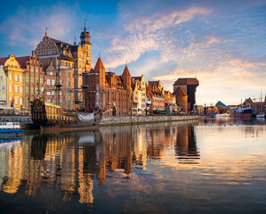 Wall Murals Ship Cityscape of Gdansk in Poland