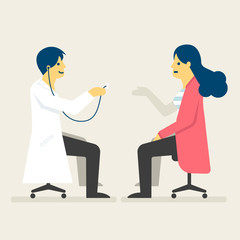 Doctor checking a woman health, Medical concept illustration