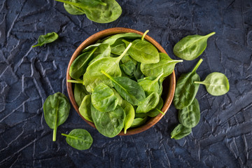 Spinach leaves in bowl
