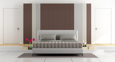 White and brown modern bedroom