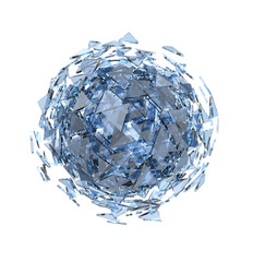Sphere of triangle glass pieces isolated on white background.