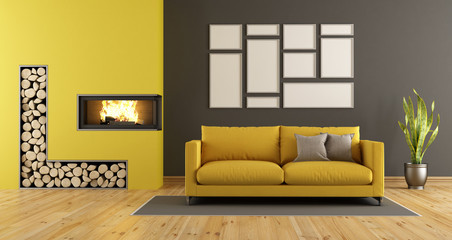 Black and yellow living room with fireplace