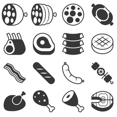 Meat products icon in silhouette  design