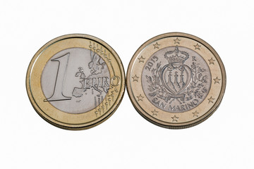 San Marino one euro coins macro in white