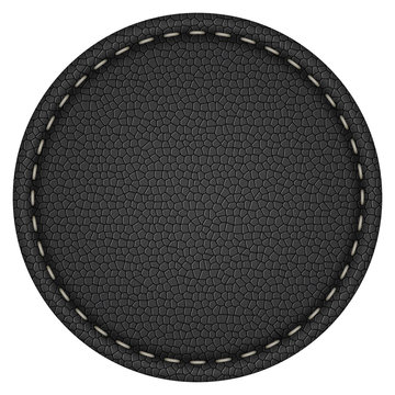 Blank round stitched black leather label