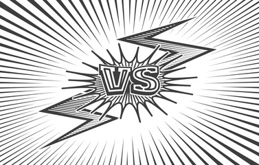 Comic book sketch versus confrontation background. VS duel fight doodle backdrop with explosion lines vector illustration