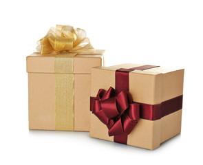 Set of beautiful gift boxes with wonderful bows of shiny ribbons on white background