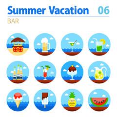 Bar beach icon set. Summer. Vacation