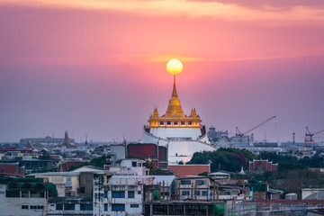 Twilight time : the Golden Mount at Wat Sraket Rajavaravihara temple, Travel Landmark of Bangkok, Thailand