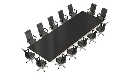 boardroom, meeting room and conference table with  with Office chairs. Business concept. Isolate on white - 3d rendering