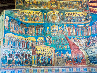 The Last Judgment scene on the exterior wall at Voronet monastery, Bucovina