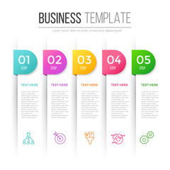 Infographic template for five options, steps or processes. Perfect for workflow layout, annual report, business concept
