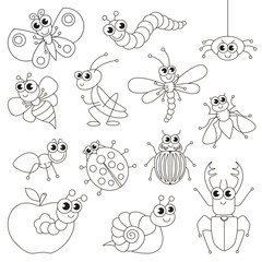 Cute small insects set, the big page to be colored, simple education game for kids.