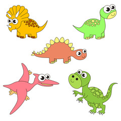 Tremendous dinosaurus dino set, the collection of coloring book template, the group of outline digital elements.