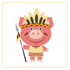 Funny pig in costume of american Indian with spear. Indian pig in cartoon style.