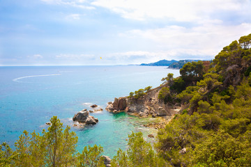 Panoramic picturesque sea landscape of Lloret de Mar
