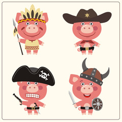 Funny pig in costume of viking, american indian, cowboy and pirate. Set isolated pig in cartoon style.