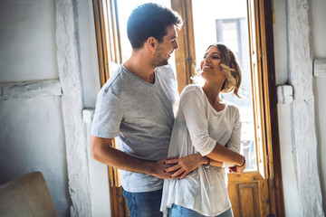 Happy couple in dance movements
