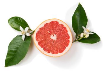 Grapefruit and flower.
