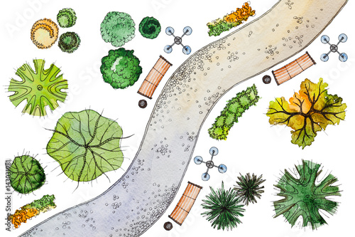 Set Of Hand Drawn Watercolor Pictorial Landscape Design Elements: Different  Types Of Green,orange