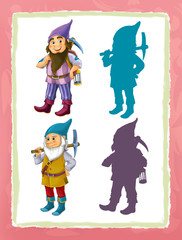 cartoon page with medieval characters different dwarfs game with shapes