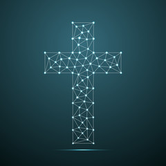 Christian cross. Religious logo. Connection structure with line and dots. Vector illustration